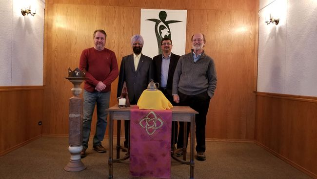 Members of the new Pembina Valley Multifaith Council: Left, Peter Cantelon, Boota Singh Ubhi, Zahid Zehri, Kelvin Dyck. Not pictured: Vassan Aruljothi, Mandeep Saini and Ted Peters.