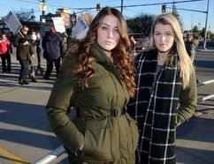 Fanshawe College nursing students Bethany Baglieri, left, and Michelle Wright have organized a student rally to protest the breakdown of bargaining in the faculty strike. (MORRIS LAMONT/THE LONDON FREE PRESS)