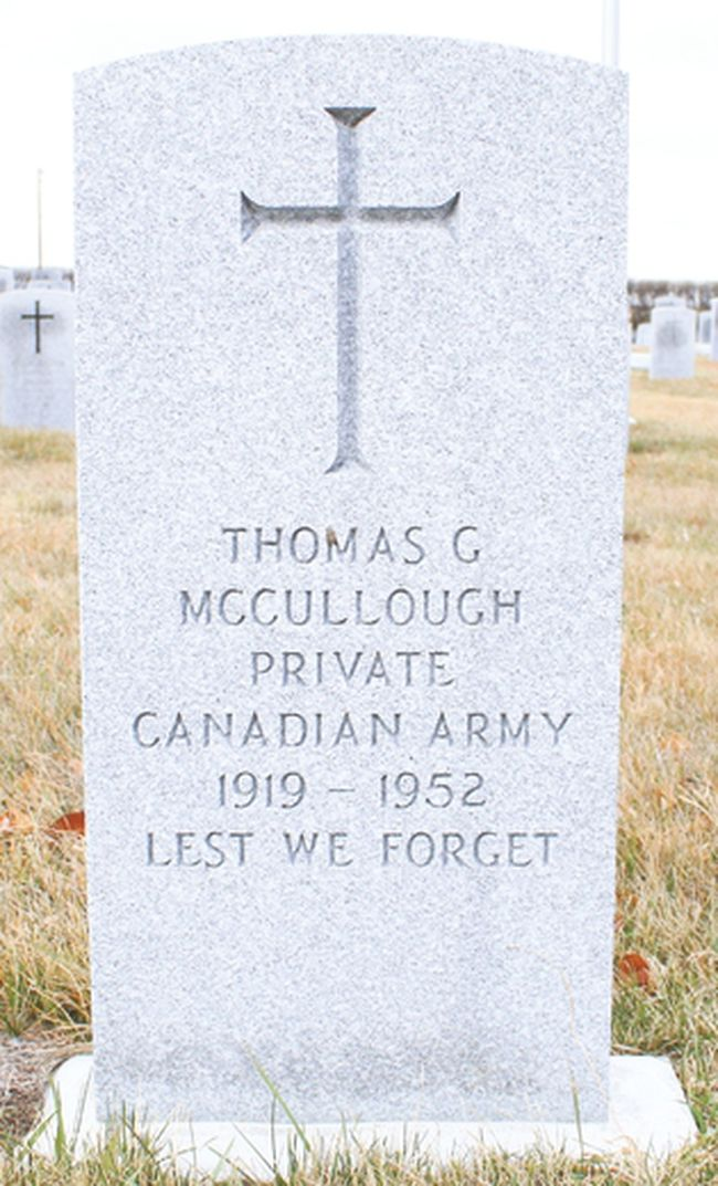 A headstone was placed on Thomas George McCullough's grave in the Vulcan cemetery in the spring of 2016. McCullough was a private in the Canadian army during the Second World War. Jasmine O'Halloran Vulcan Advocate