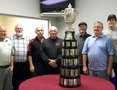 Shown here are the Prescott Curling Club members that won the Quebec Challenge Cup - (Left to right) Steve Gibson, Larry Fancy, Dave Boyd, Gary Cook, Ron Dean, Gary Albers, Dale Mackenzie and Bob Bolton. (Missing from photo is Bob Bowers) (Contributed photo)