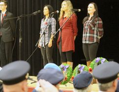 Trent Severn sings O Canada during a Remembrance service at Northwestern on Thursday, Nov. 9, 2017 in Stratford, Ont. (Terry Bridge/Stratford Beacon Herald/Postmedia Network)