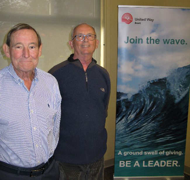 Terry Bateson (left),  retired senior partner with Millard Chartered Professional Accountants, and Paul Williamson, founder and retired president of The Williamson Group, are hoping to boost Brant United Way by encouraging more people to become leaders in community giving and volunteerism. (Vincent Ball/The Expositor)