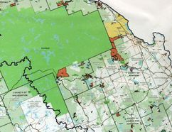 Sean Chase/Daily Observer This map shown to Renfrew County council by former county chief administrative officer Norm Lemke illustrates the extent of the Algonquin land claim (shaded in orange).
