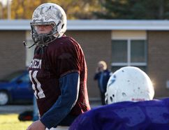 Gananoque Trojans Zack Pelehos practices before the Leeds-Grenville high school football championship against the North Grenville Knights, which will be held Friday in Gananoque. (Jonathon Brodie/The Recorder and Times)