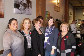 Stony Plain MLA Erin Babcock (left) poses with Linda Matties (centre left), Dara Choy (centre), Minister Stephanie McLean (centre right) and Judy Bennett (right). - Photo by Keenan Sorokan