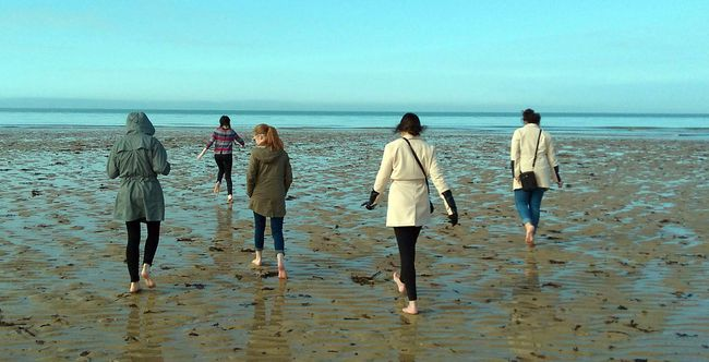 Photo suppliedMembers of the Central Algoma Secondary School history club walk the shores of Juno Beach.