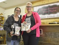 Erin Waller-Burnett and Maura Dobie at the new Farmer's Daughter Artisan Market in Glencoe earlier this year. (Louis Pin/Times-Journal)