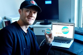 Matt Laberge holds Clap Balm, a hockey hand odour fighter he and fellow hockey player Dan Black invented in 2015. They're launching the product in Australia this month and plan to expand into Germany soon. (Louis Pin/Times-Journal)