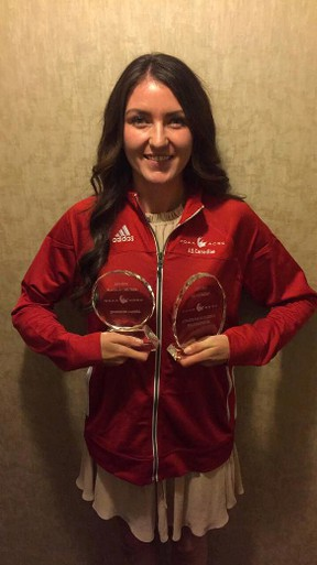 Tiffany Johnson of the Cambrian Golden Shield displays her trophies at the recent CCAA awards. Photo supplied