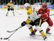 Sarnia Sting's Hugo Leufvenius (46) and Soo Greyhounds' Mac Hollowell (11) battle for the puck in the first period at Progressive Auto Sales Arena in Sarnia, Ont., on Friday, Nov. 10, 2017. (Mark Malone/Chatham Daily News/Postmedia Network)