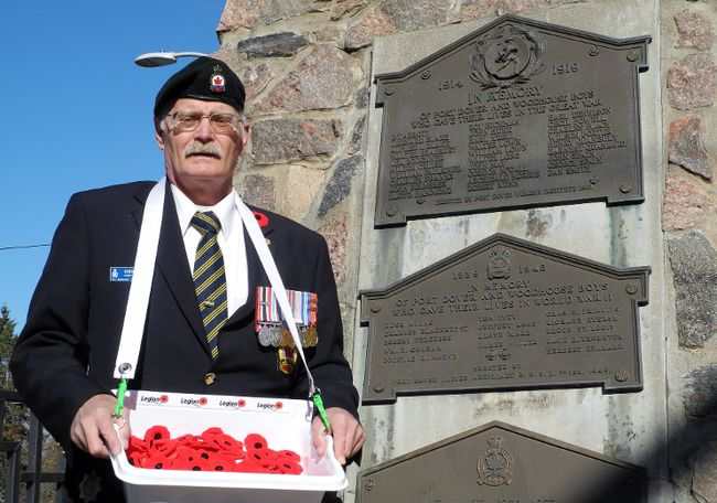 John Smith, poppy chair with the Royal Canadian Legion in Port Dover, has found subtle ways to shorten the Remembrance Day ceremony in Powell Park so it doesn't strain aging veterans.  MONTE SONNENBERG / SIMCOE REFORMER