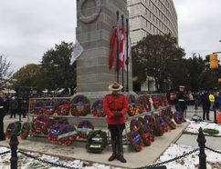 Thousand gathered in Victoria Park on Saturday to mark Remembrance Day in front of the newly-restored cenotaph/Hank Daniszewski London Free Press