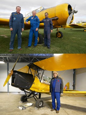 Three CHAA Harvards flew over Toronto Saturday morning, part of the city's Remembrance Day ceremony. From left are pilots Scott McMaster, Bjarni Tryggvason, former Canadian astronaut and president of the all-volunteer Canadian Harvard Aircraft Association, and Percy Contractor. Below, CHAA's George Wilson flew the 1941 Tiger Moth over Tillsonburg Saturday for the local Remembrance Day ceremony.