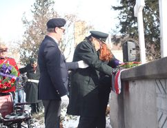 WWII Veteran Major Frank Golding left his wheelchair to stand and pay respects last Saturday at the Remembrance Day service in Seaforth. (Shaun Gregory/Huron Expositor) (More photos will be added in this week's Expositor)