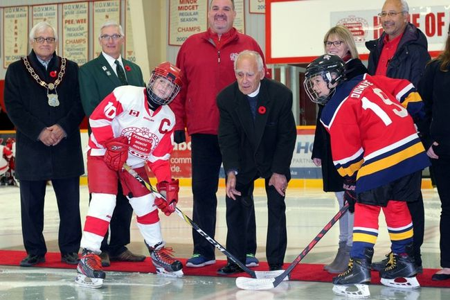 Sean Chase/Daily Observer The 33rd annual Terry O'Neill Pembroke Silver Stick Tournament officially opened Friday night with the Atoms taking centre stage. Tournament founder Terry O'Neill dropped the ceremonial first puck with Pembroke Kings captain Addison Robillard (front left) and Kemptville Panthers captain Nolan Dulmage taking the faceoff.
