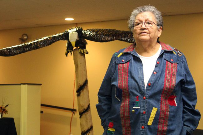 Treaty 3 women's executive council member Priscilla Simard speaks about fundraising efforts to support bringing the Walking With Our Sisters art installation to Kenora during a community conversation at the Travelodge Hotel on Friday, Nov. 10. The eagle sculpture behind her was donated by artist Percy Cameron.