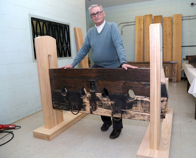 Ian MacAlpine/The Whig-Standard George Caron, a former warden at The Prison For Women, shows off a refurbished inmate stock at the Joyceville Institution Hobby Shop. Caron wants to find out if the stock was used at Kingston Penitentiary in the 1800s.