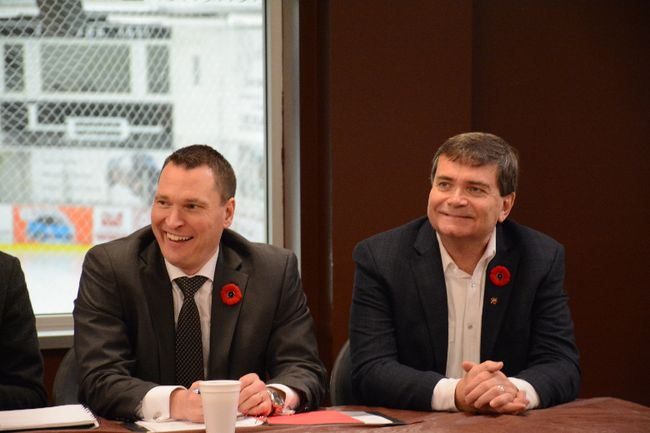 Alberta Ministers Deron Bilous (left) and Oneil Carlier talk to local officials and business leaders about economics and trade (Peter Shokeir | Whitecourt Star).