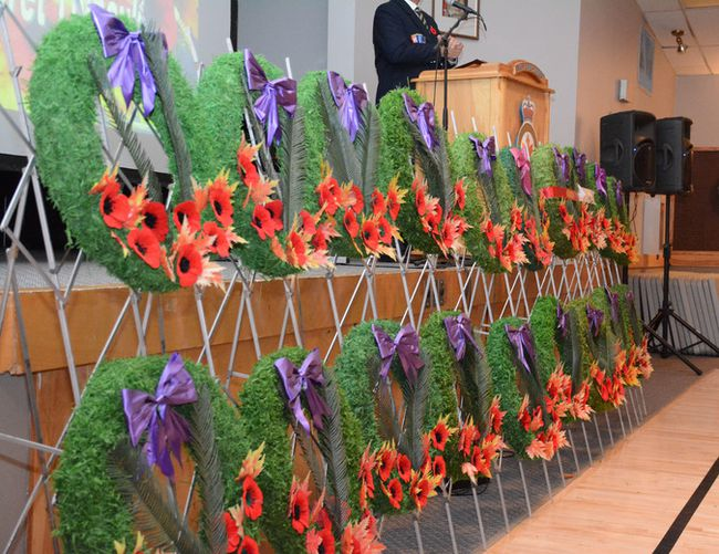 Veterans, local officials and residents lay down wreaths during Remembrance Day on Nov. 11 (Peter Shokeir | Whitecourt Star).