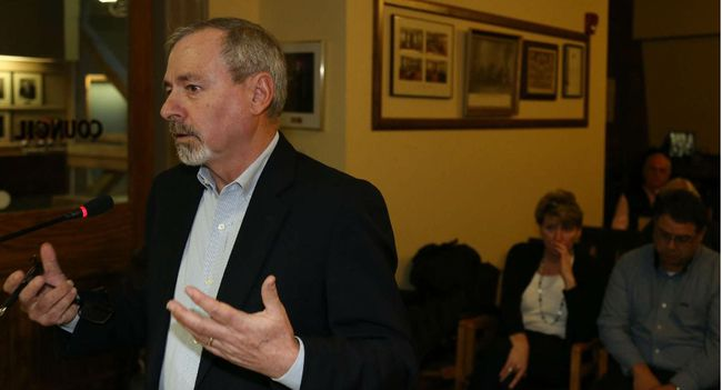 Jason Miller/The Intelligencer  Hastings County CAO, Jim Pine, lobbies city council to support the building of a 40 unit complex in an effort to alleviate the ongoing housing crisis.