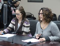 Aultsville Theatre general manager, Janet Martel, and board vice-president Krystle Mitrow ask council for $23,000 to help replace theatre's faltering lighting system.