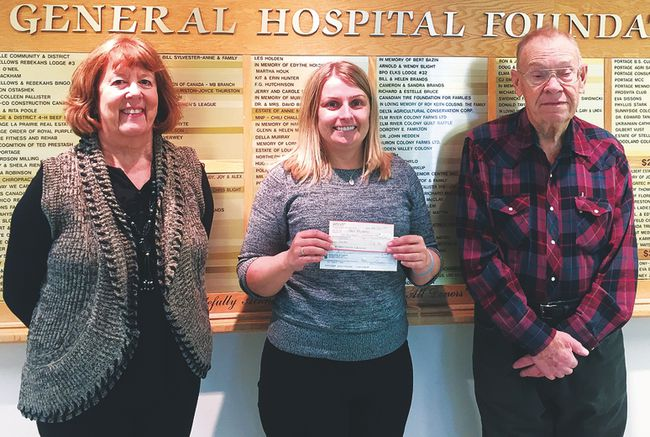 La Prairie Lioness Club president Anne Peters, (left) along with Tom Muir (right) presented Portage District General Hospital Foundation executive director Erin Miller (centre) with the monies earlier this week. (Supplied photo)