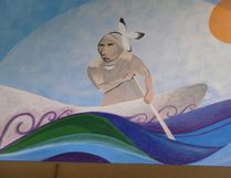Submitted photo One of the murals painted by local Indigenous and student artists that hang in the Napanee District Secondary School library. Each mural tells an Indigenous story.