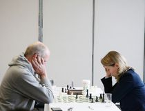 International master Mark Ginsburg of Tuscan, Arizona (left) battles Canada's top female player Agnieszka Matras-Clement of Leduc during the Banff Open Chess Tournament  in the Kinnear Centre at the Banff Centre in Banff on Sunday, Nov. 12, 2017. (Russ Ullyot/ Bow Valley Crag & Canyon/ Postmedia Network)