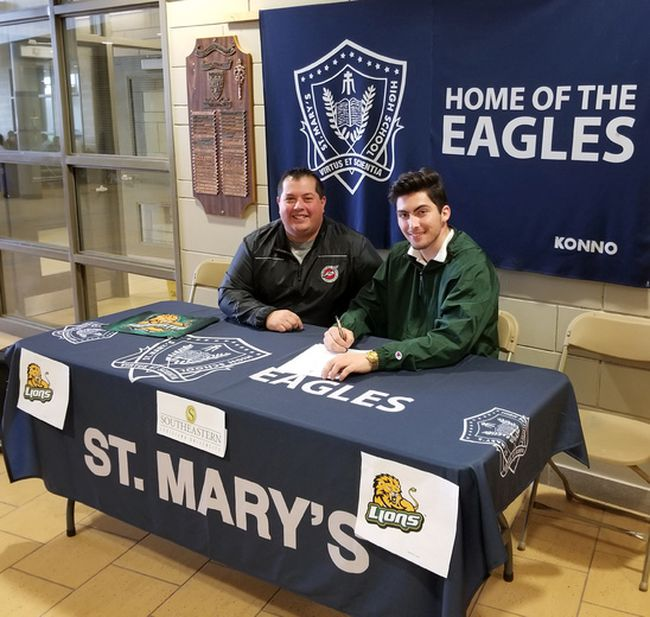 Cole Belkwell (right) recently accepted a scholarship to attend Southeastern Louisiana University, an NCAA Division I school, where he will be on the track and field team as a thrower. With Belkwell is Brantford Track and Field Club throws coach Sean Doucette. (Submitted Photo)