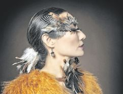 Terri-Lynn Williams-Davidson, a citizen of the Haida Nation, has incorporated powerful bird imagery in many of the works in her multi-media art show at the Haida Gwaii Museum in British Columbia. Her Swainson's Thrush Woman is rich with traditional and contemporary bird references. (Photo courtesy Terri-Lynn Williams-Davidson and Farah Nosh)