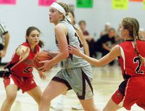 Wallaceburg Tartans' Megan McCarter drives to the basket against the Essex Red Raiders during the SWOSSAA 'AA' senior girls' basketball final at Wallaceburg District Secondary School on Wednesday, Nov. 15, 2017. (DAVID GOUGH/Postmedia Network)
