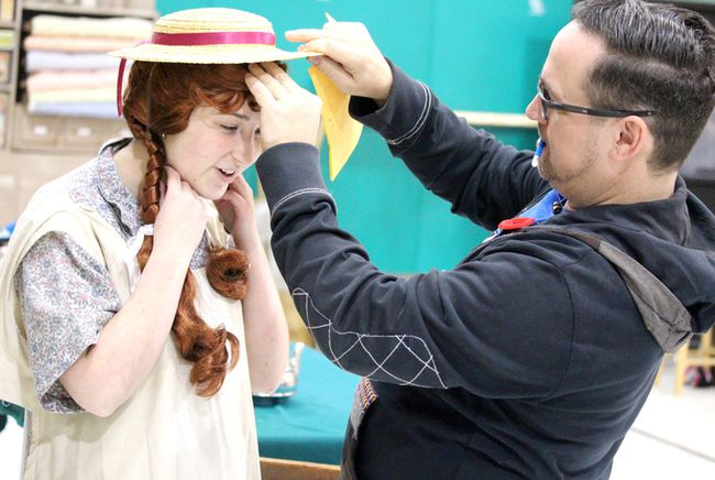 Producer Thomas Brandstetter helps Moira Boucher during a rehearsal for Anne of Green Gables The Musical.