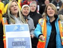 Striking faculty is seen here at Sault College