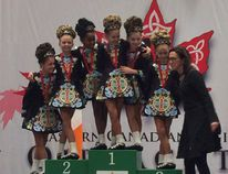 The six-member Under-10 Port Elgin-based Celtic Academy Irish Dance Canada team earned Gold at the Eastern Canada Regional Oireachtas 2017, Irish Dance Championships Nov.10 - 12 in Toronto, beating out the best dancers from six provinces. The team, with members from Port Elgin, Southampton, Walkerton, Chepstow, Cargill and Guelph, celebrated on the podium with their instructor Mary Foley. The win qualified the Under-10 team for the nationals in Florida next July, representing Canada against 200 other teams. Submitted photo