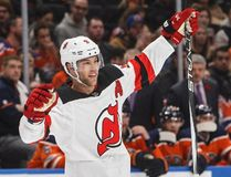 New Jersey Devils' Taylor Hall celebrates a goal against his former team, the Edmonton Oilers, during first period NHL action in Edmonton on Nov. 3. (Jason Franson/The Canadian Press)