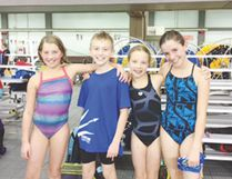 The Triton Swim team recently competed at the 29th Poppy Invitational meet. Left to right: Makynna Nuttal, Eli Rice, Sophia Kelly and Brielle Menard.