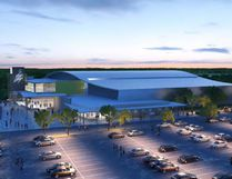 File photo - An early rendering of the proposed sport and event centre. Council is seeking $600,000 from the Coal Community Transition Fund to further its work on the event centre.