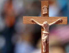 <p>A crucifix is seen at a meadow near the river Elbe near Wittenberg, Germany, on May 28, 2017. </p><p> CHRISTOF STACHE/AFP/Getty Images