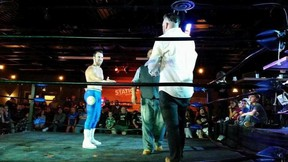 Wrestling heel Sebastian Suave confronts Sarnia Coun. Brian White during a Smash Wrestling event in Sarnia in September. Smash Wrestling will return for a third time to Sarnia on Nov. 25 with their show, Rumble at the Border. Handout/Sarnia This Week
