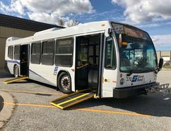 A new Sarnia Transit bus is shown displaying front and rear ramps. It's one of two new 40-foot, accessible buses scheduled to go into service Monday. (Submitted)