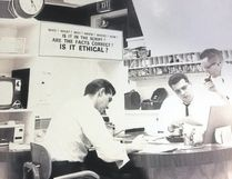 """The CFPL-TV newsroom in 1968 featured a sign, visible centre, that asked: """"Are the facts correct. Is it ethical?"""" Those days, some argue, are long gone. (Special to The London Free Press)"""