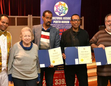 At the Multicultural Association of Perth Huron's sixth anniversary dinner Saturday night, association founder Geza Wordofa and long-time volunteer Yolanda Grimaldi, honoured four association volunteers for their dedicated service. Pictured from left are Teklemariam Dawit, Wordofa, Grimaldi, Abate Bekele, Mehari Ahferom and Chris Fournier.