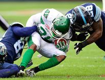 Toronto Argonauts beat the Saskatchewan Rough Riders in the CFL East Division at BMO Field on Sunday, Nov. 19, 2017. (Stan Behal/Postmedia Network)