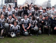 The Ursuline Lancers celebrate their 38-0 win over the Chatham-Kent Golden Hawks in the LKSSAA 12-man junior football final at Ursuline College Chatham on Saturday, Nov. 18, 2017. (Contributed Photo)