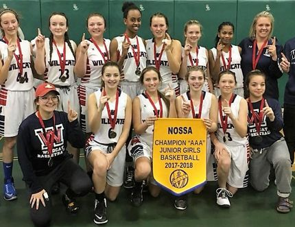 The Widdifield Wildcats beat St. Mary's of Sault Ste. Marie 41-34 to win the NOSSA 'AAA' junior girls basketball championship at West Ferris Secondary School, Saturday. Team members include: Melanie Brouse, Zenna Hilliard, MacKenzie Bailey, Tori Gravelle, Carlie Pappano, Emily Arrowsmith, Holli Armstrong, Jami Bowman, Janae Hardware, Breanna Rowlandson, Meadow Gillespie, Adrianna Hanselman, Kira Lefebvre, and Payton Sproule. Coaching staff included Stephen Hong and Alysha Young with student assistants Kyle Armstrong and Gage King. Submitted Photo