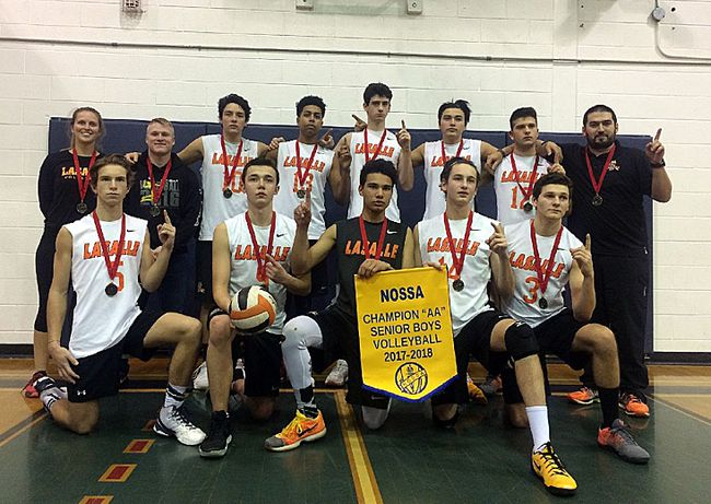 Lasalle Lancers senior boys volleyball players and coaches celebrate their NOSSA AA championship. Photo supplied