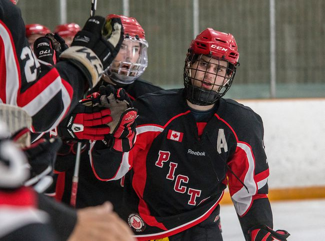 Picton Pirates forward Devin Morrison, seen celebrating a goal earlier this season against the Amherstview Jets, scored in overtime on Thursday night as the Pirates downed the first-place Napanee Raiders 5-4. (Tim Gordanier/The Whig-Standard)