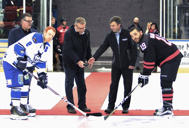 <p>Cornwall Nationals captain Ahmed Mahfouz (right) was honoured at the home game at the civic complex on Sunday, Nov. 19, 2017, after registering his 600th FHL point a night earlier. From left at the ceremonial puck drop are Wolves captain John Scully, Cornwall Mayor Leslie O'Shaughnessy and Dr. Michel Dubuc, representing Le Village on what was Chuck Charlebois Night.</p><p>