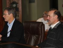 <p>St. Lawrence River Institute's Dr. Jeff Ridal, with board chair Walter Oeggerli, address SDG Council on Monday November 20, 2017 in Cornwall, Ont. </p><p> Lois Ann Baker/Cornwall Standard-Freeholder/Postmedia Network