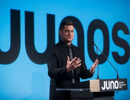 Michael Buble speaks after being introduced as the host of the 2018 Juno Awards, which will be held in Vancouver, during an announcement in Vancouver on Tuesday Nov. 21, 2017. THE CANADIAN PRESS/Darryl Dyck